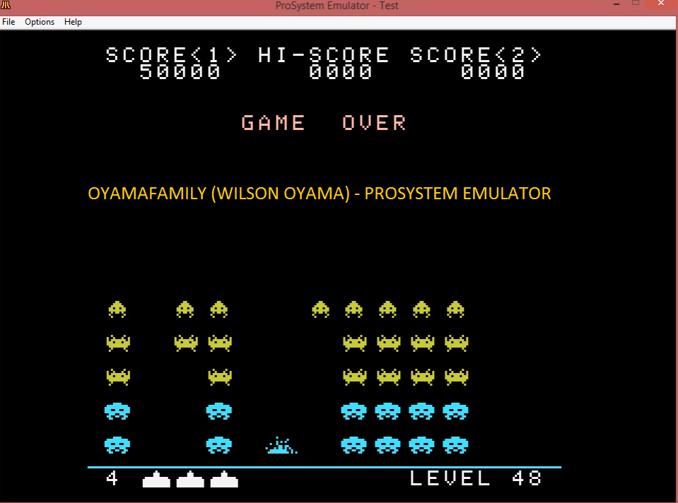 oyamafamily: Space Invaders [None/Fixed Shields] (Atari 7800 Emulated) 50,000 points on 2016-03-12 19:18:49