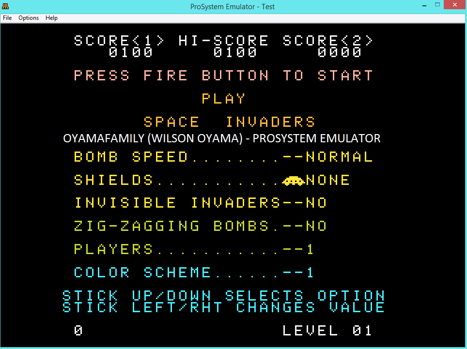oyamafamily: Space Invaders [Normal/No Shields] (Atari 7800 Emulated) 100 points on 2015-12-31 09:00:49