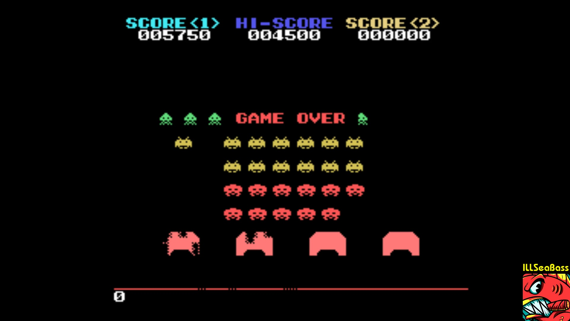 ILLSeaBass: Space Invaders (Sega SG-1000 Emulated) 5,750 points on 2018-01-21 21:46:57