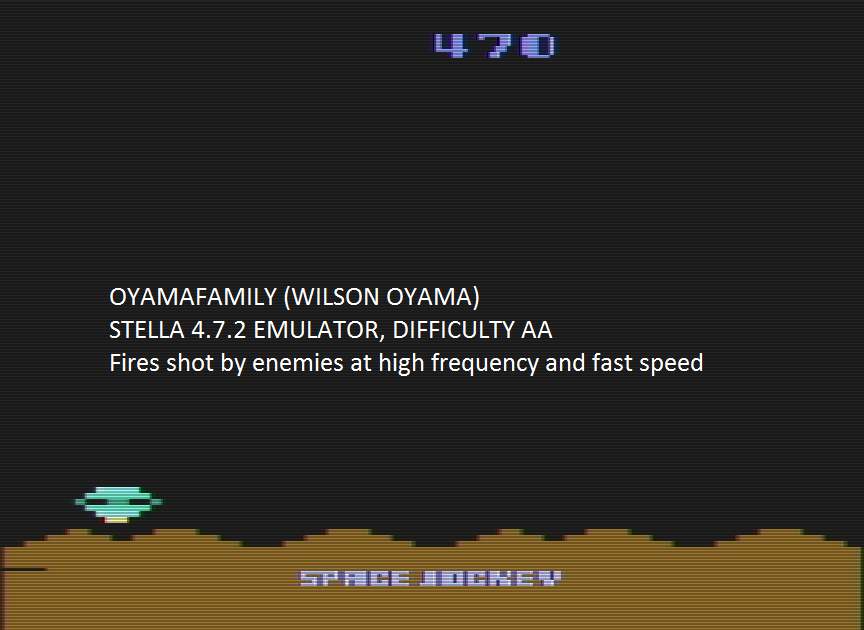 oyamafamily: Space Jockey (Atari 2600 Emulated Expert/A Mode) 470 points on 2016-08-07 18:39:44