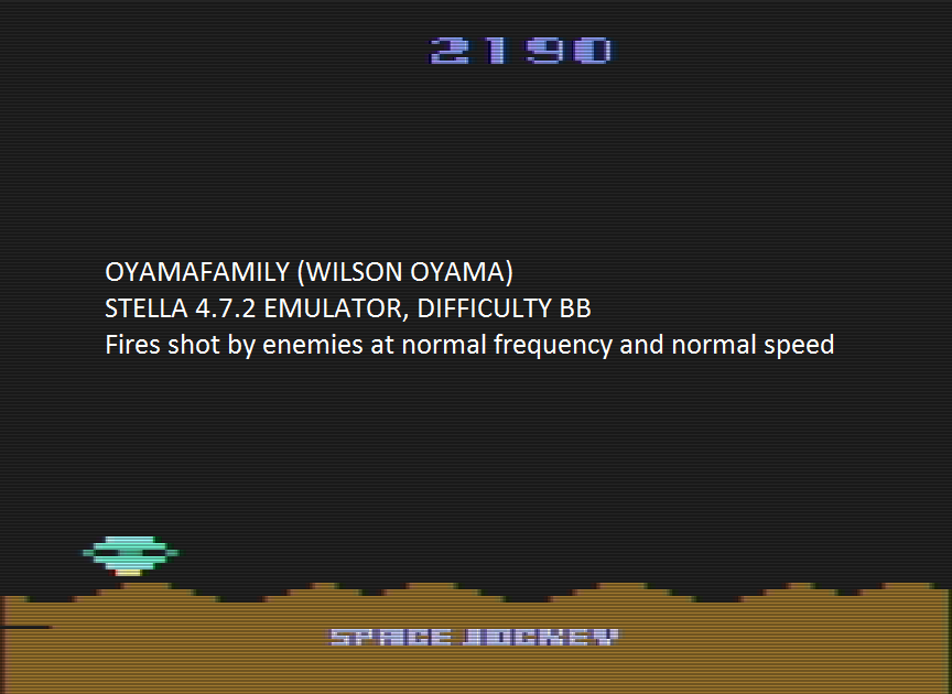 oyamafamily: Space Jockey (Atari 2600 Emulated Novice/B Mode) 2,190 points on 2016-08-07 18:39:04