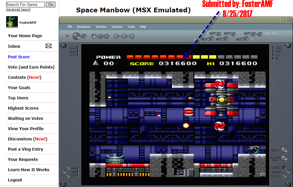 FosterAMF: Space Manbow (MSX Emulated) 316,600 points on 2017-08-25 15:46:04