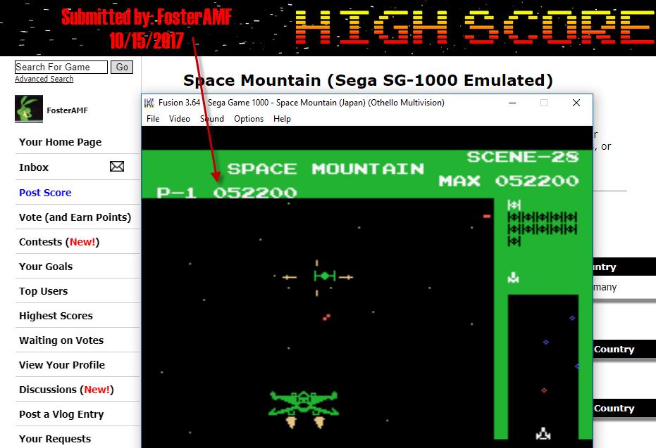 FosterAMF: Space Mountain (Sega SG-1000 Emulated) 52,200 points on 2017-10-15 17:45:14