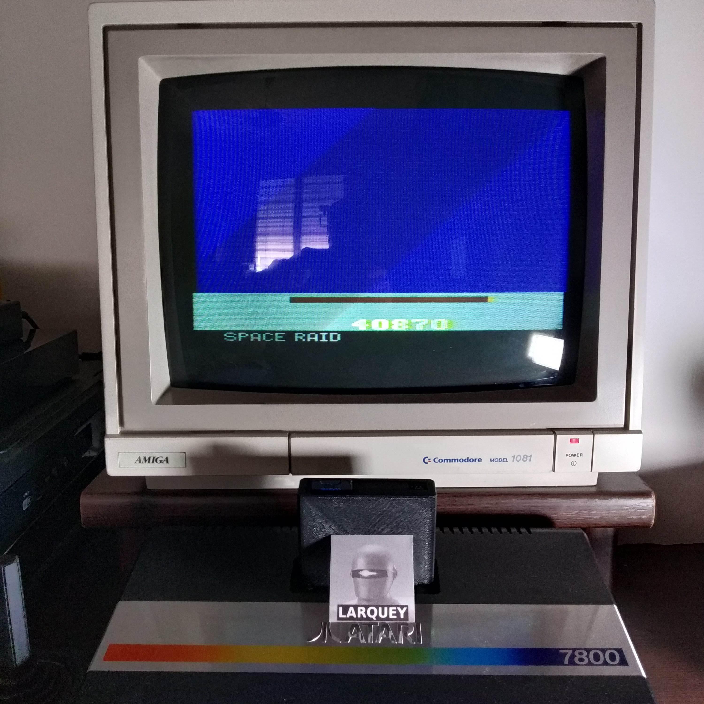 Larquey: Space Raid [Megamania Hack] (Atari 2600 Novice/B) 40,870 points on 2020-07-18 09:42:32