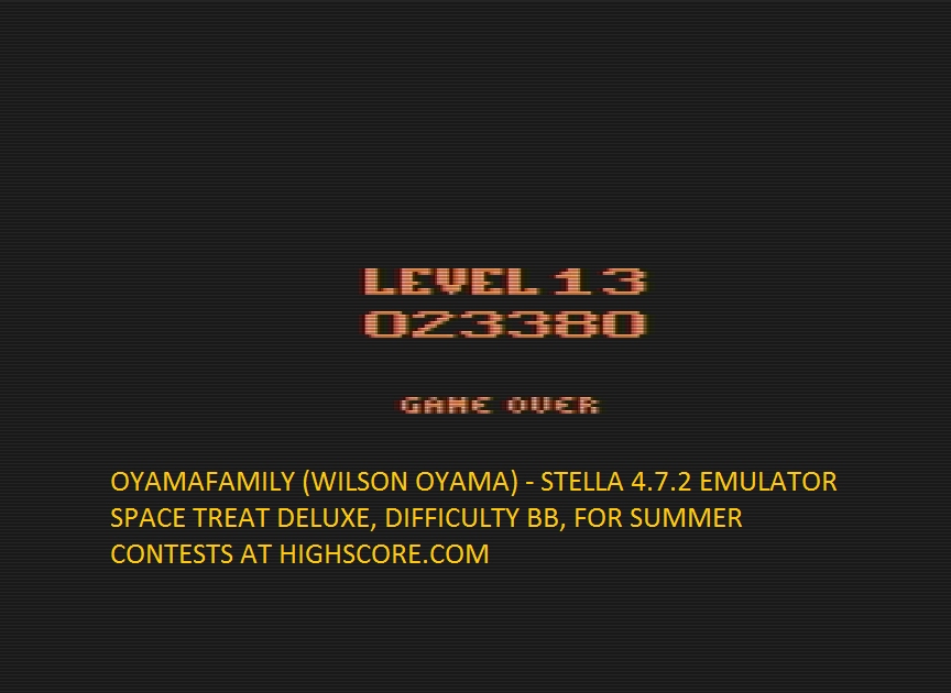 oyamafamily: Space Treat Deluxe (Atari 2600 Emulated Novice/B Mode) 23,380 points on 2016-07-30 20:24:22