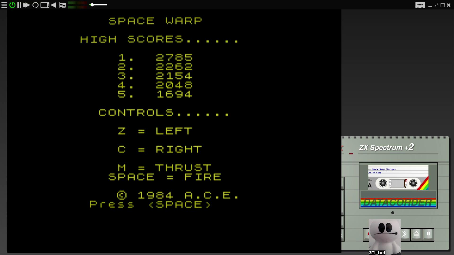 GTibel: Space Warp (ZX Spectrum Emulated) 2,785 points on 2020-07-27 09:26:44