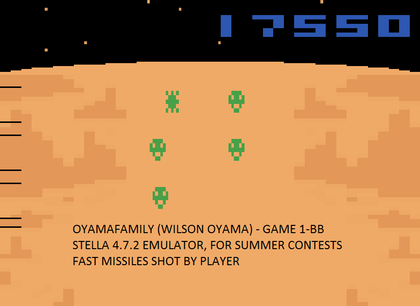 oyamafamily: Spacechase (Atari 2600 Emulated Novice/B Mode) 17,550 points on 2016-08-07 12:28:29