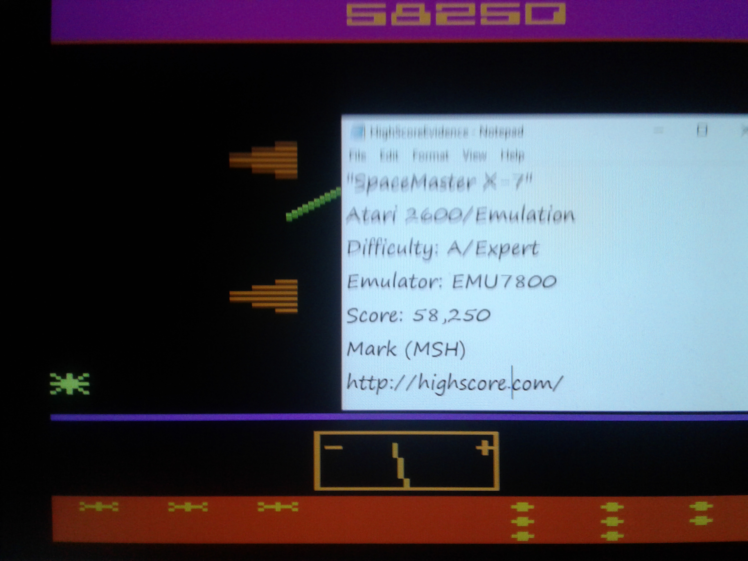 Mark: Spacemaster X-7 (Atari 2600 Emulated Expert/A Mode) 58,250 points on 2019-01-13 20:43:06