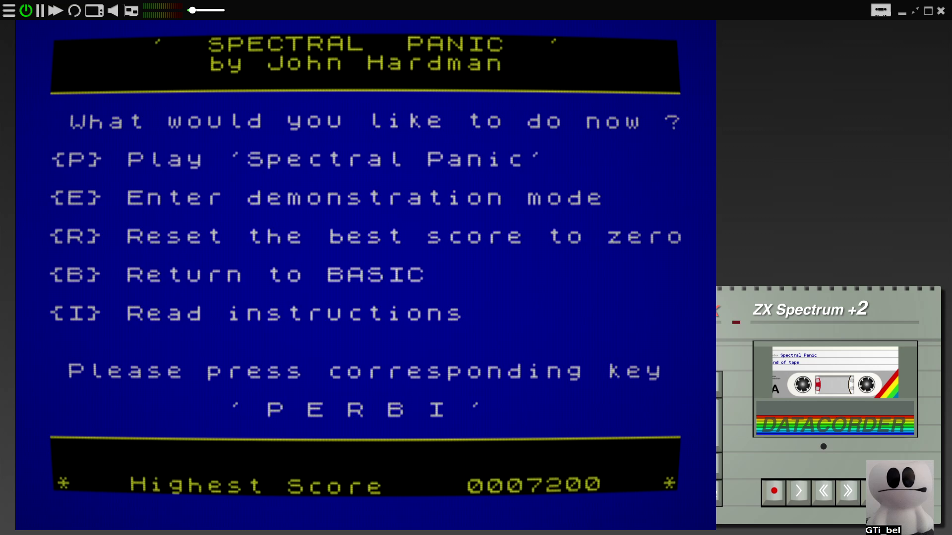 GTibel: Spectral Panic (ZX Spectrum Emulated) 7,200 points on 2020-08-25 09:37:27