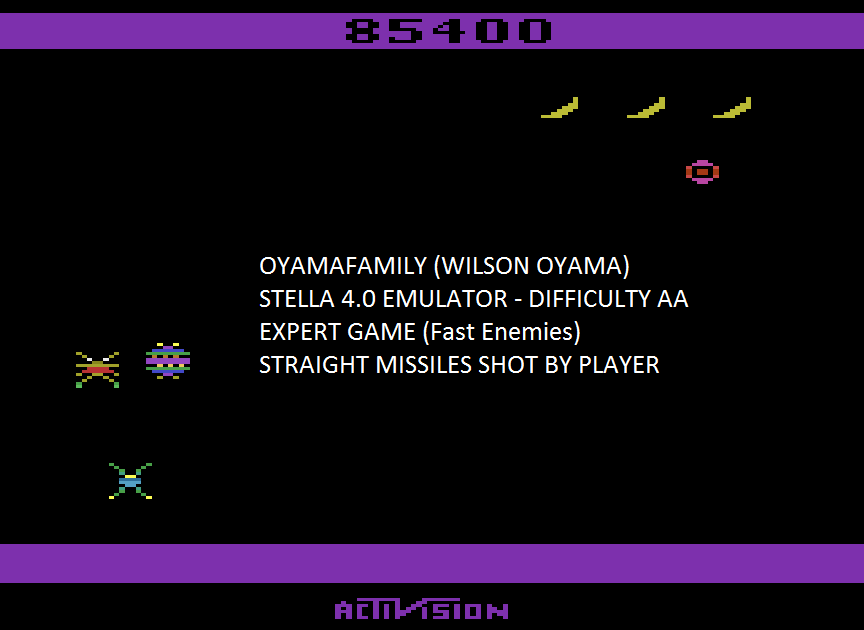 oyamafamily: Spider Fighter (Atari 2600 Emulated Expert/A Mode) 85,400 points on 2015-08-11 19:15:45
