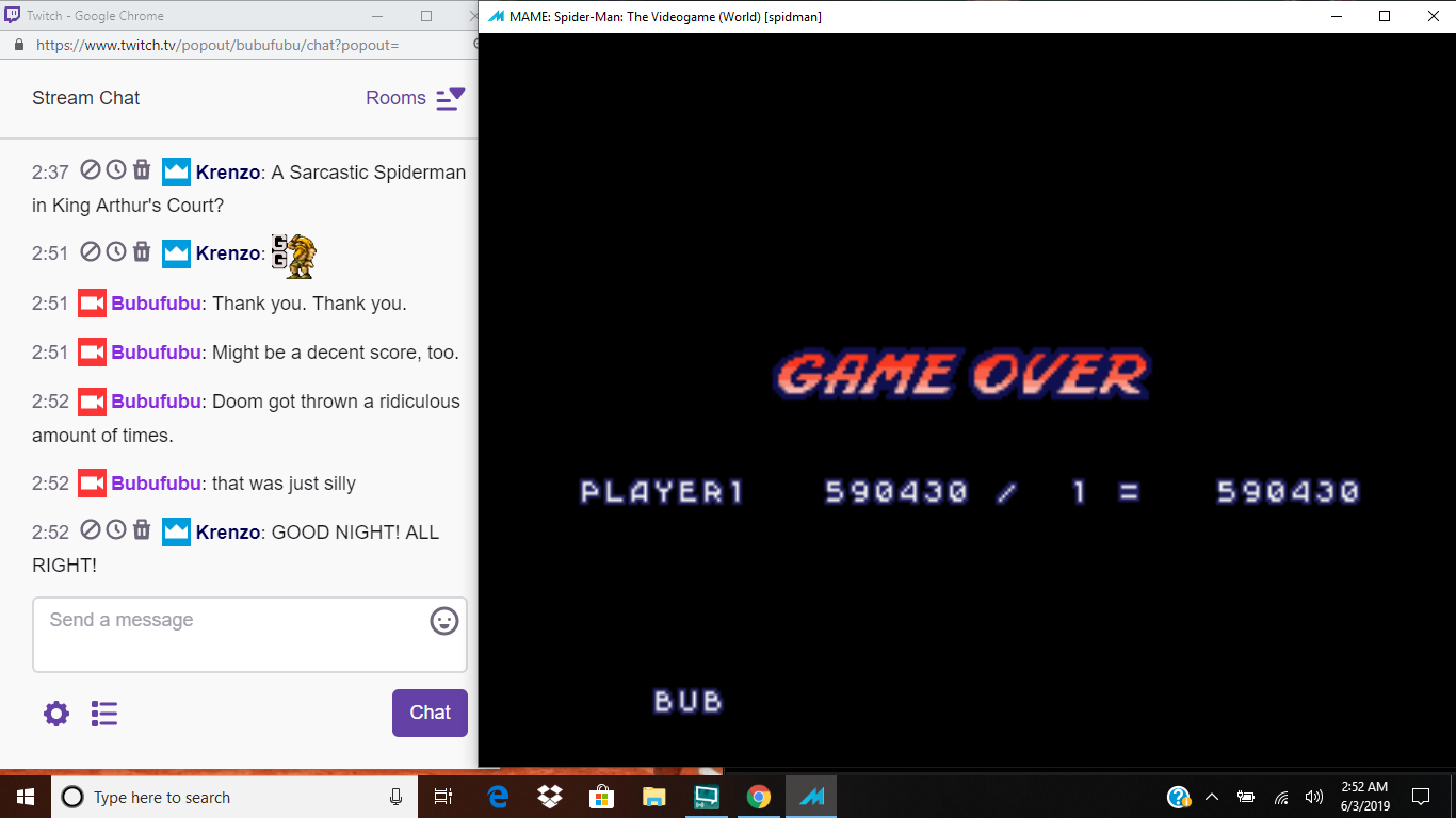 bubufubu: Spider-Man: The Video Game [spidman] (Arcade Emulated / M.A.M.E.) 590,430 points on 2019-06-03 11:39:15
