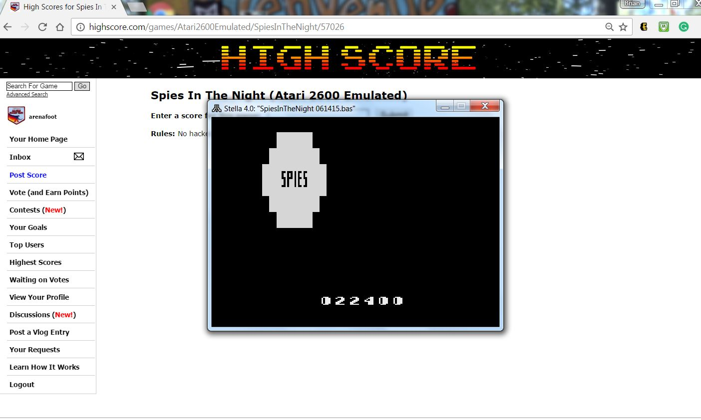 arenafoot: Spies In The Night (Atari 2600 Emulated) 22,400 points on 2016-11-28 13:28:15