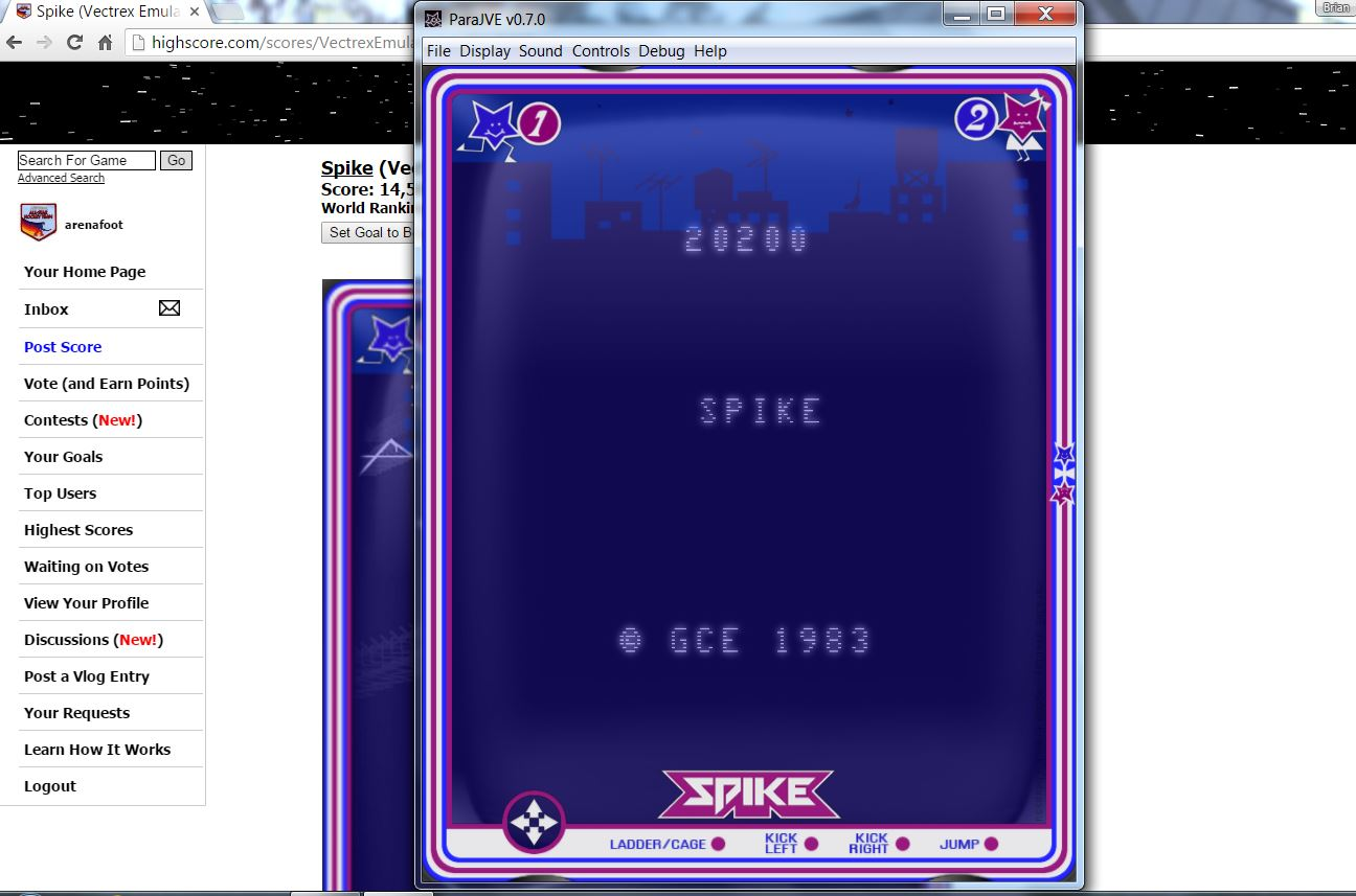 arenafoot: Spike (Vectrex Emulated) 20,200 points on 2016-06-14 16:18:31