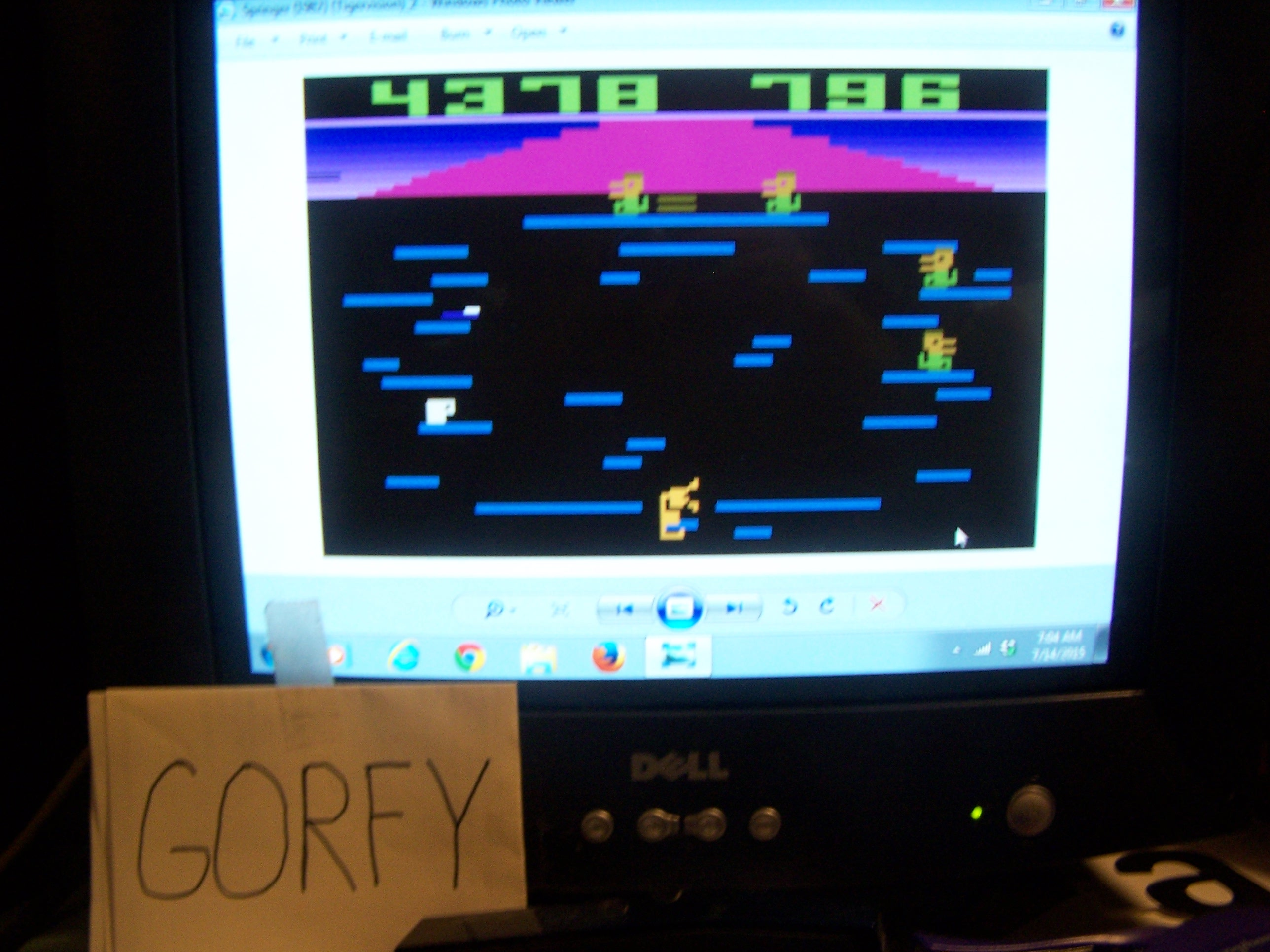 Gorfy: Springer	 (Atari 2600 Emulated Novice/B Mode) 4,378 points on 2015-07-14 06:09:38