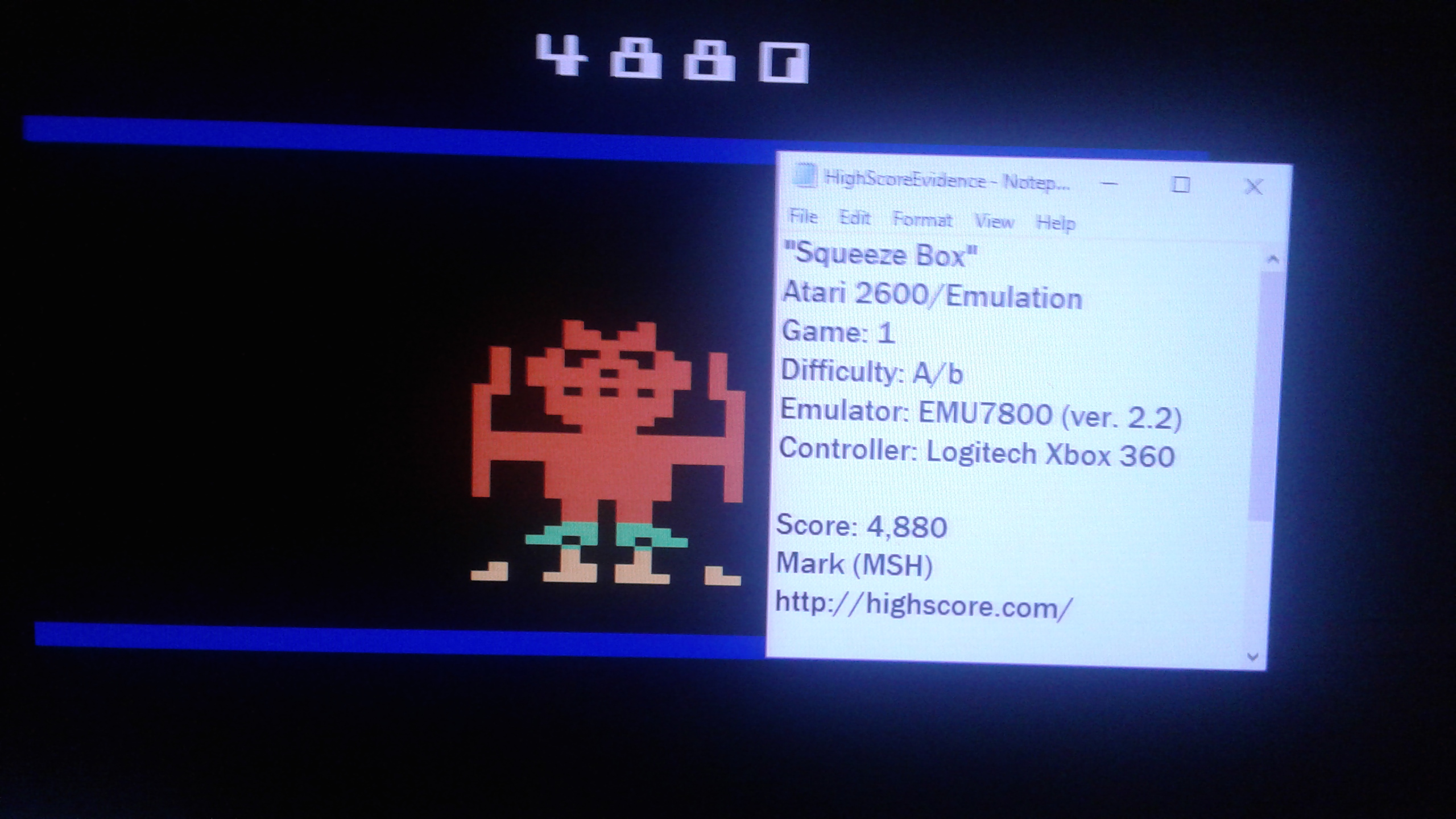 Squeeze Box [Game 1AB] (Atari 2600 Emulated) high score by Mark