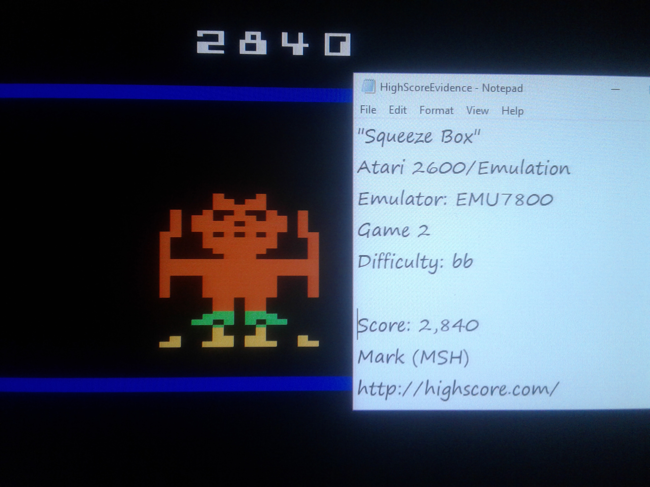 Mark: Squeeze Box: Game 2 [Difficulty BB] (Atari 2600 Emulated) 2,840 points on 2019-01-23 23:24:49
