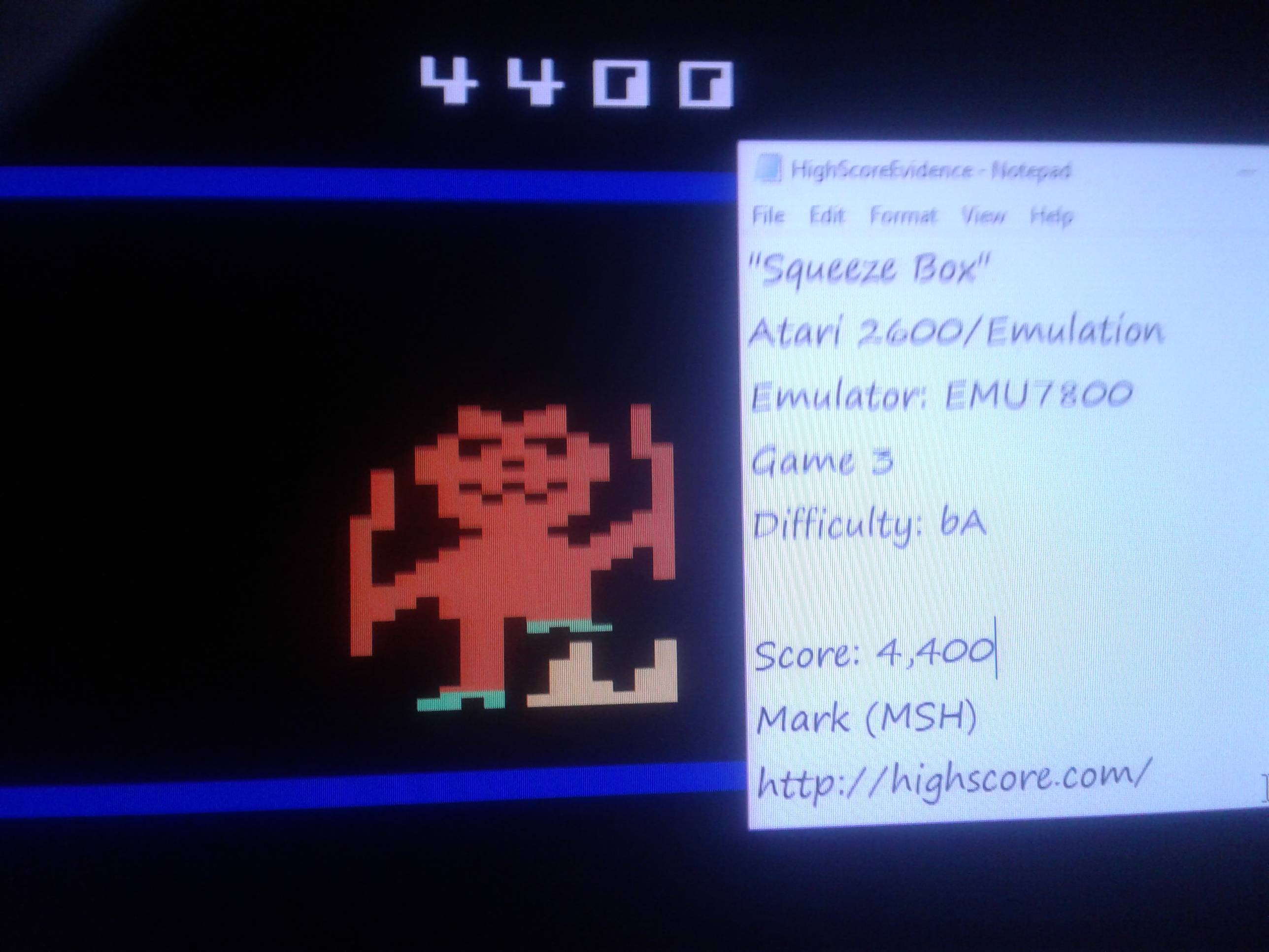 Mark: Squeeze Box: Game 3 [Difficulty BA] (Atari 2600 Emulated) 4,400 points on 2019-01-23 23:41:31