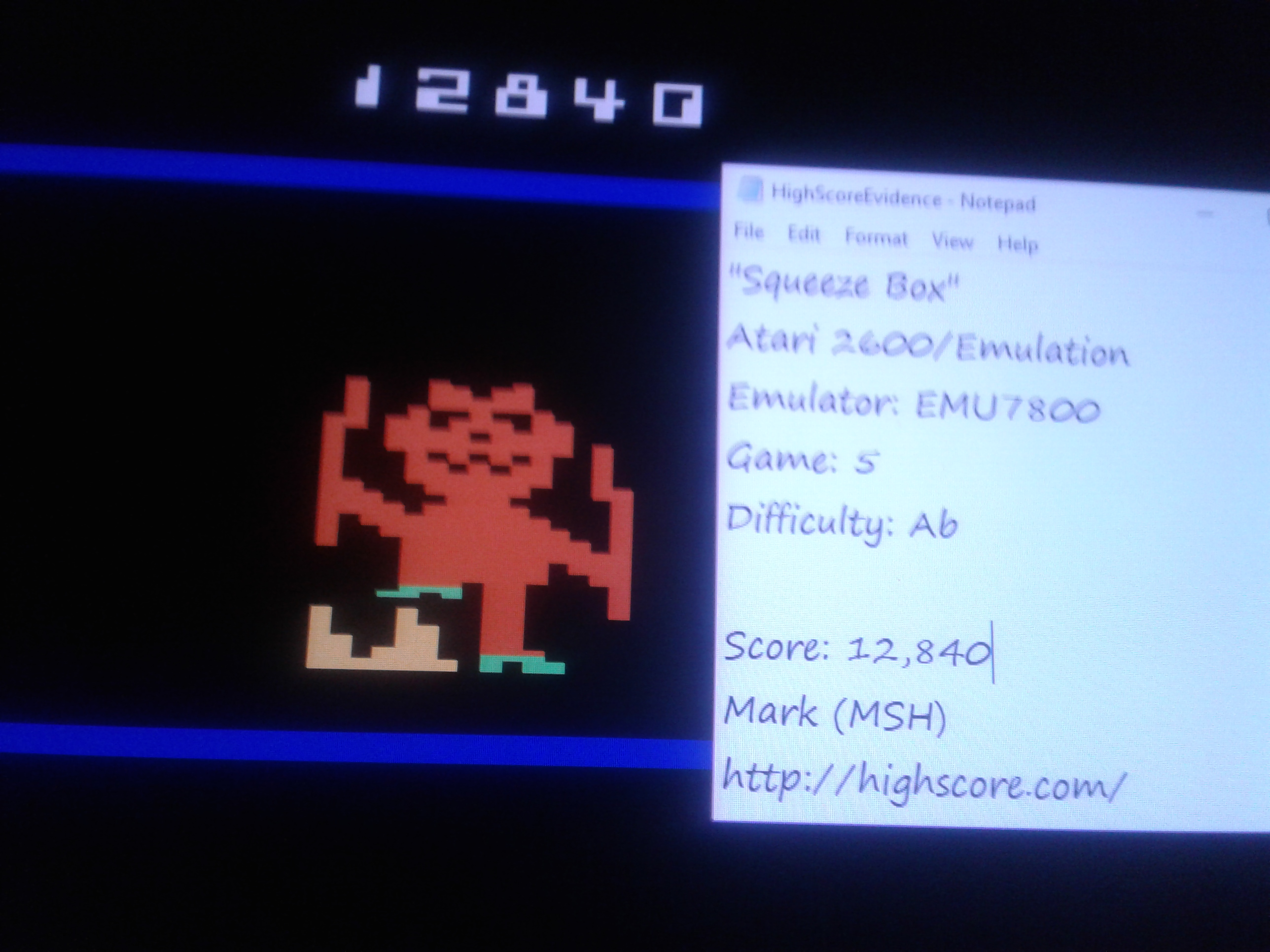 Mark: Squeeze Box: Game 5 [Difficulty AB] (Atari 2600 Emulated) 12,840 points on 2019-01-25 00:01:50