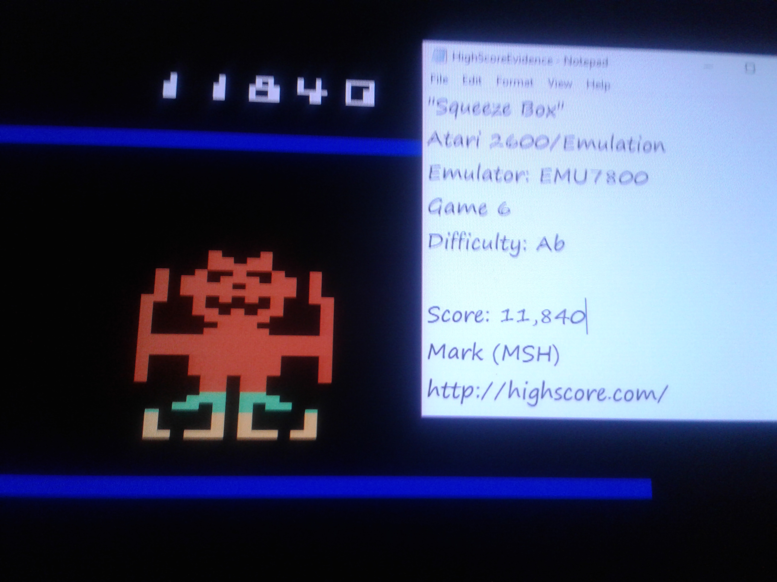 Mark: Squeeze Box: Game 6 [Difficulty AB] (Atari 2600 Emulated) 11,840 points on 2019-01-26 01:13:12