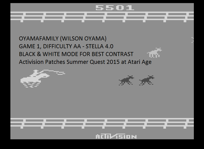 oyamafamily: Stampede (Atari 2600 Emulated Expert/A Mode) 5,501 points on 2015-08-08 14:15:36