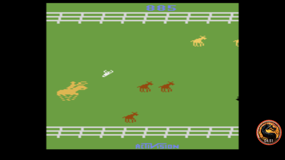 omargeddon: Stampede (Atari 2600 Emulated Expert/A Mode) 885 points on 2019-05-18 00:09:04