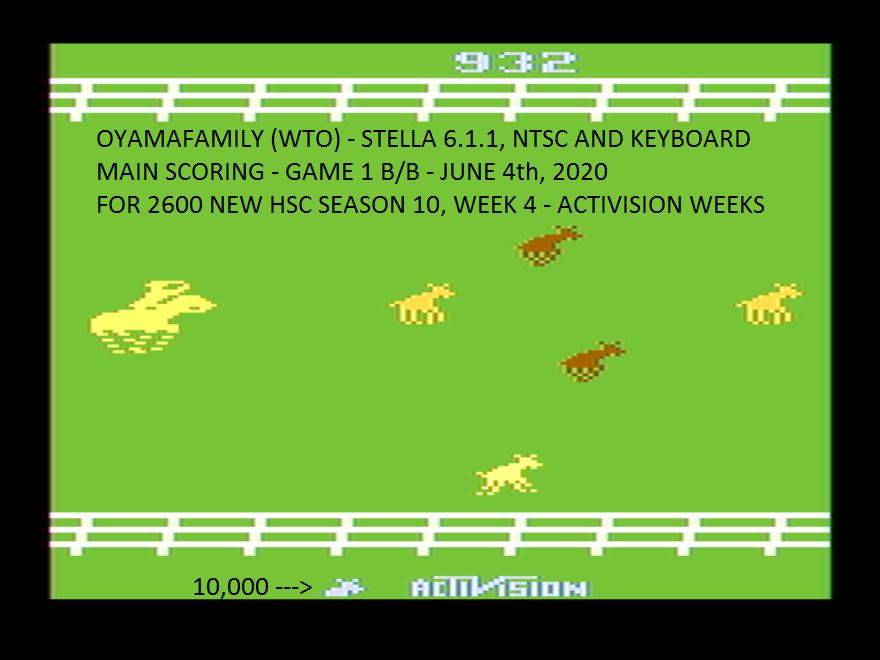 oyamafamily: Stampede (Atari 2600 Emulated Novice/B Mode) 10,932 points on 2020-06-08 11:52:39
