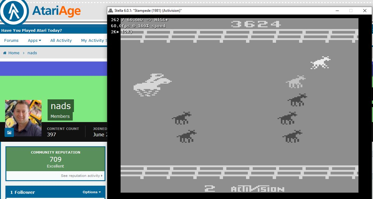 nads: Stampede (Atari 2600 Emulated Novice/B Mode) 23,624 points on 2020-06-28 12:50:03