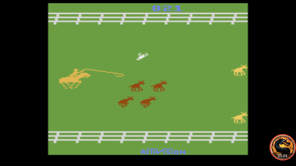 omargeddon: Stampede: Game 2 (Atari 2600 Emulated Expert/A Mode) 821 points on 2019-05-18 00:09:51