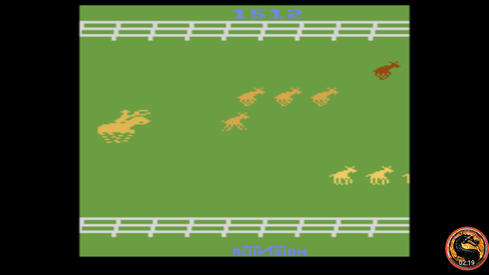 omargeddon: Stampede: Game 3 (Atari 2600 Emulated Expert/A Mode) 1,512 points on 2019-05-18 00:14:01