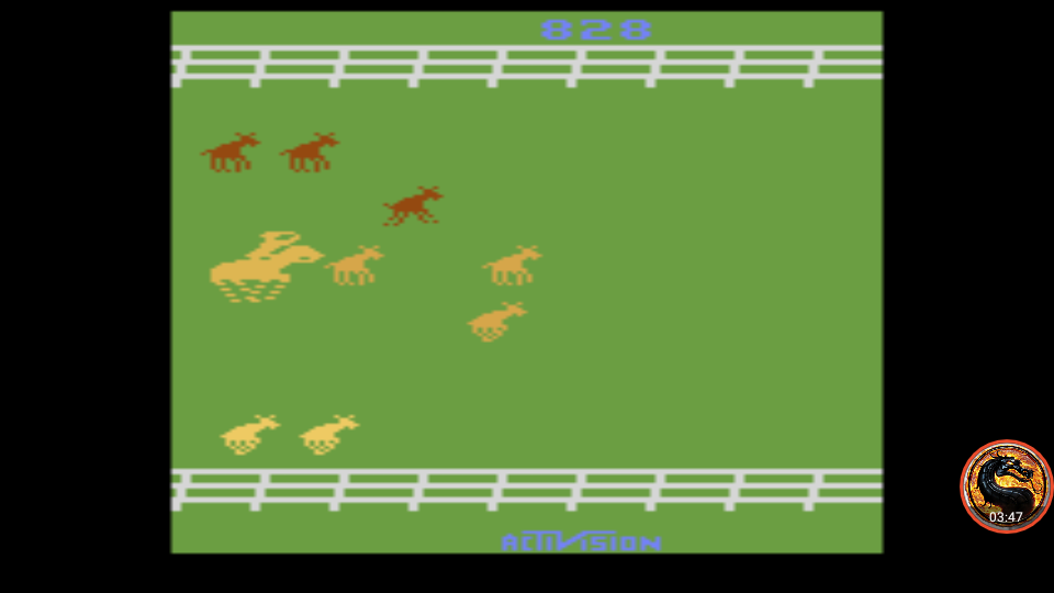 omargeddon: Stampede: Game 5 (Atari 2600 Emulated Expert/A Mode) 828 points on 2019-05-18 00:31:44
