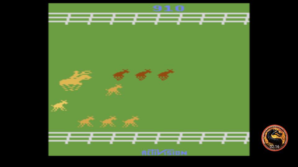 omargeddon: Stampede: Game 7 (Atari 2600 Emulated Novice/B Mode) 910 points on 2019-06-07 23:49:27