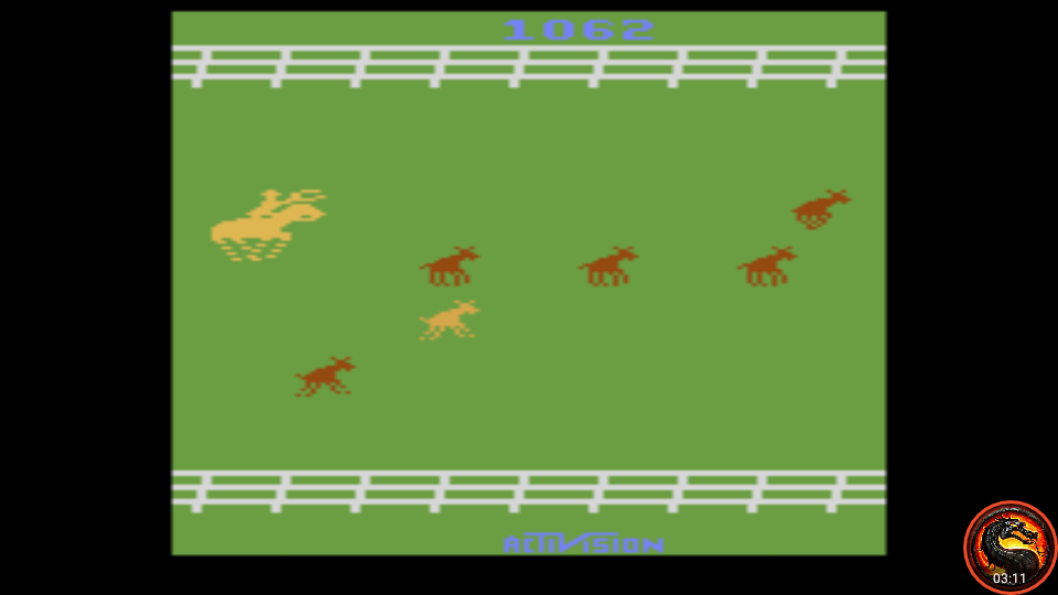 omargeddon: Stampede: Game 7 (Atari 2600 Emulated Novice/B Mode) 1,062 points on 2020-06-15 20:43:29