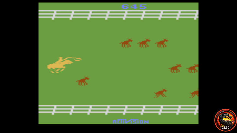 omargeddon: Stampede: Game 8 (Atari 2600 Emulated Expert/A Mode) 645 points on 2020-03-18 22:12:31