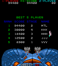 Mantalow: Star Fighter (Arcade Emulated / M.A.M.E.) 94,400 points on 2015-07-14 04:18:17