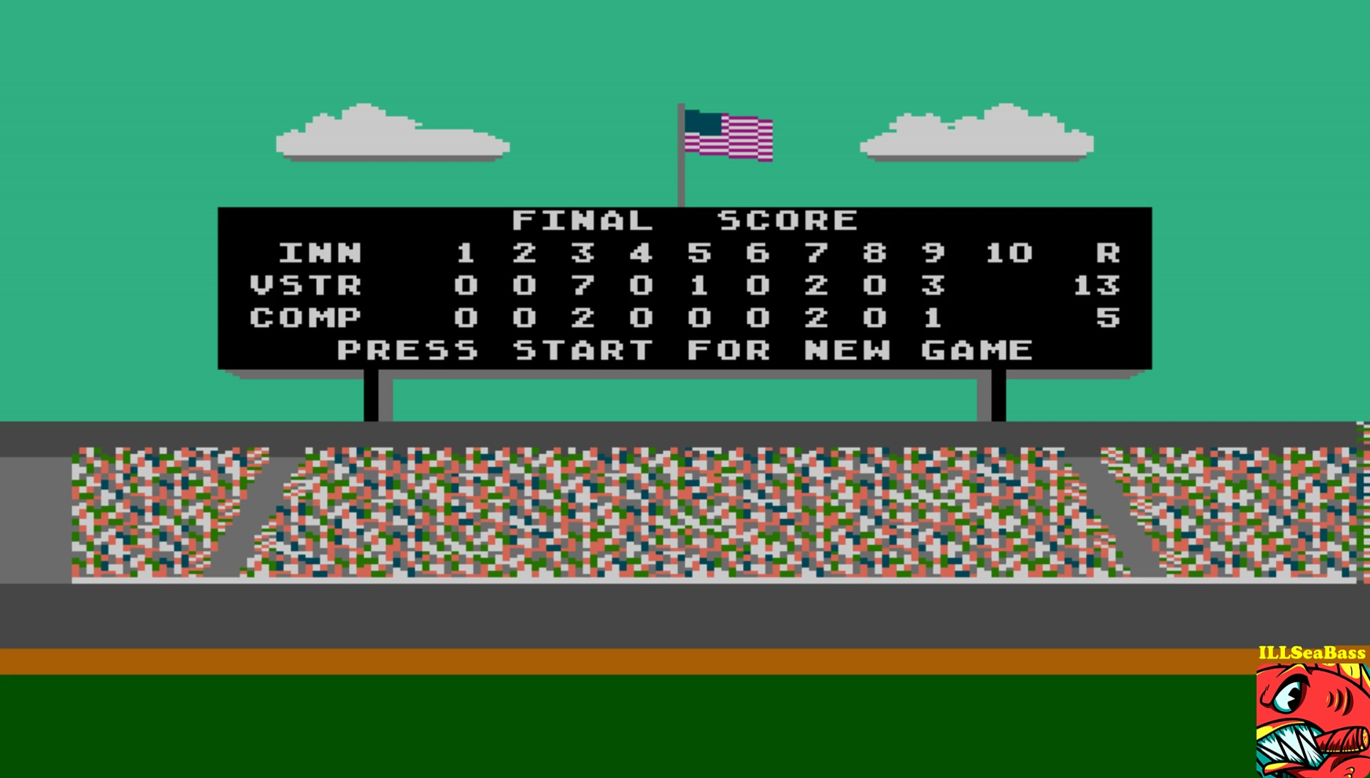ILLSeaBass: Star League Baseball [Point Difference] (Atari 400/800/XL/XE Emulated) 8 points on 2017-07-11 23:27:01