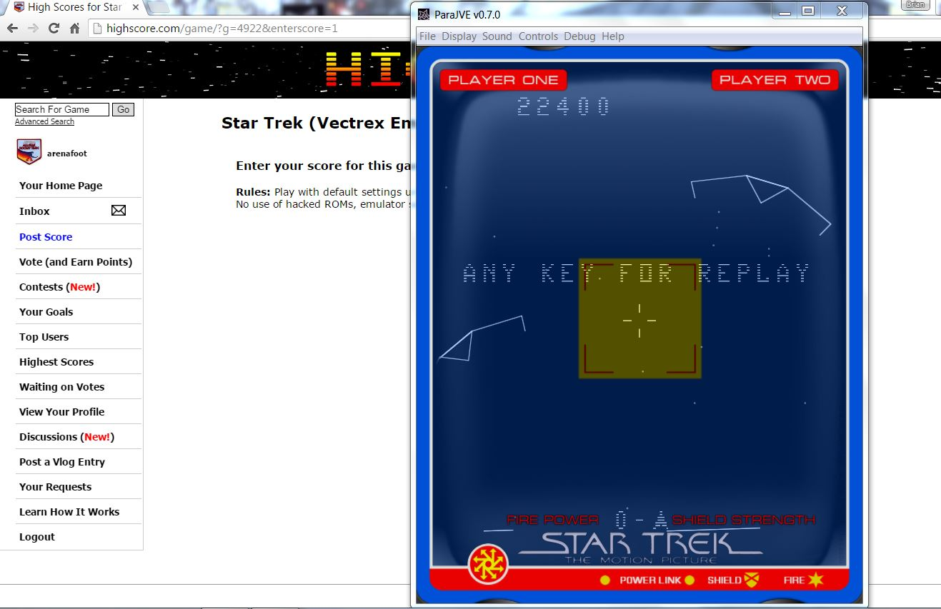 arenafoot: Star Trek (Vectrex Emulated) 22,400 points on 2016-07-09 02:03:38