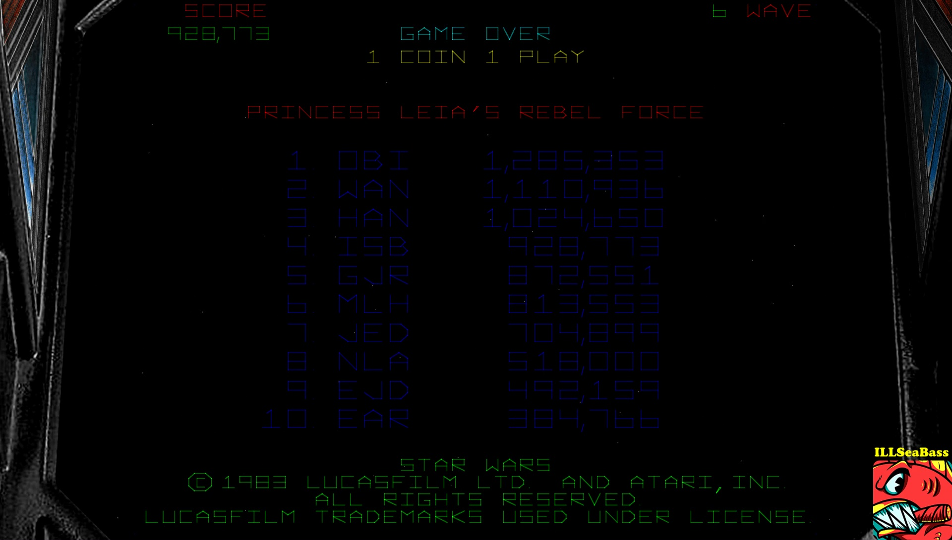 ILLSeaBass: Star Wars (Arcade Emulated / M.A.M.E.) 928,773 points on 2017-03-27 09:03:35