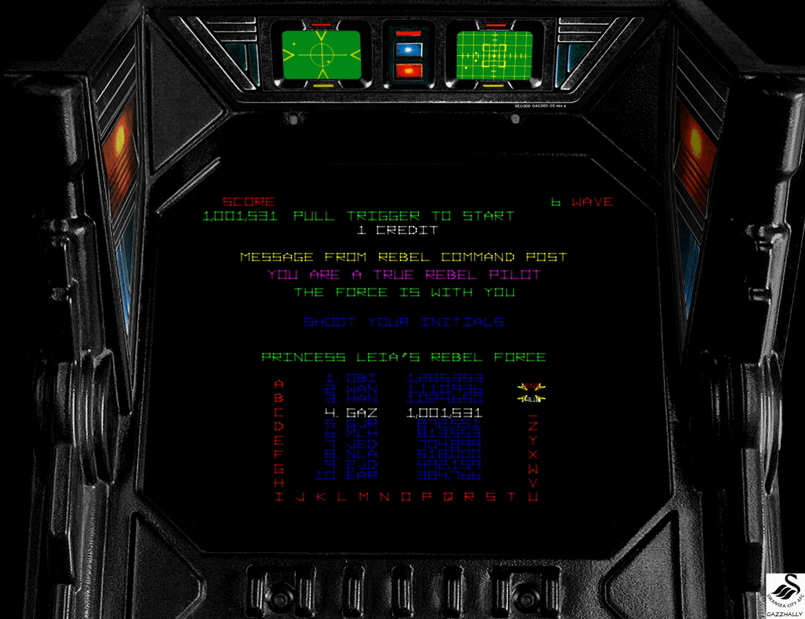 gazzhally: Star Wars (Arcade Emulated / M.A.M.E.) 1,001,531 points on 2017-03-28 11:02:42