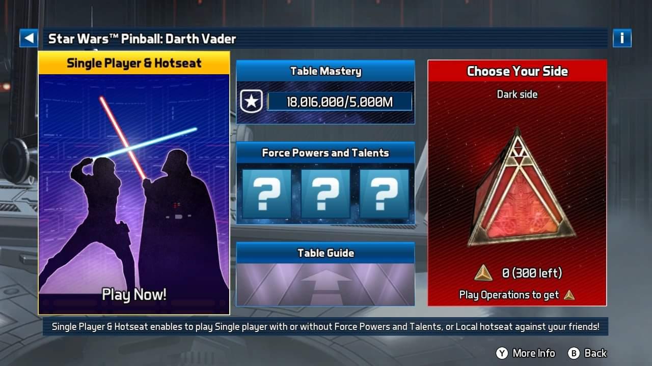 JML101582: Star Wars Pinball: Darth Vader [3 Balls] (Nintendo Switch) 18,016,000 points on 2020-12-25 17:26:20