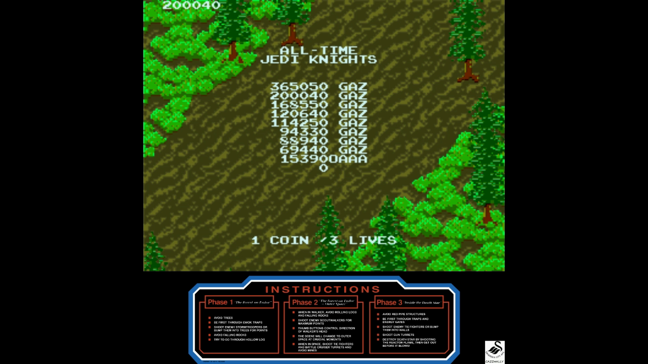 gazzhally: Star Wars: Return of the Jedi (Arcade Emulated / M.A.M.E.) 200,040 points on 2017-11-08 13:12:07