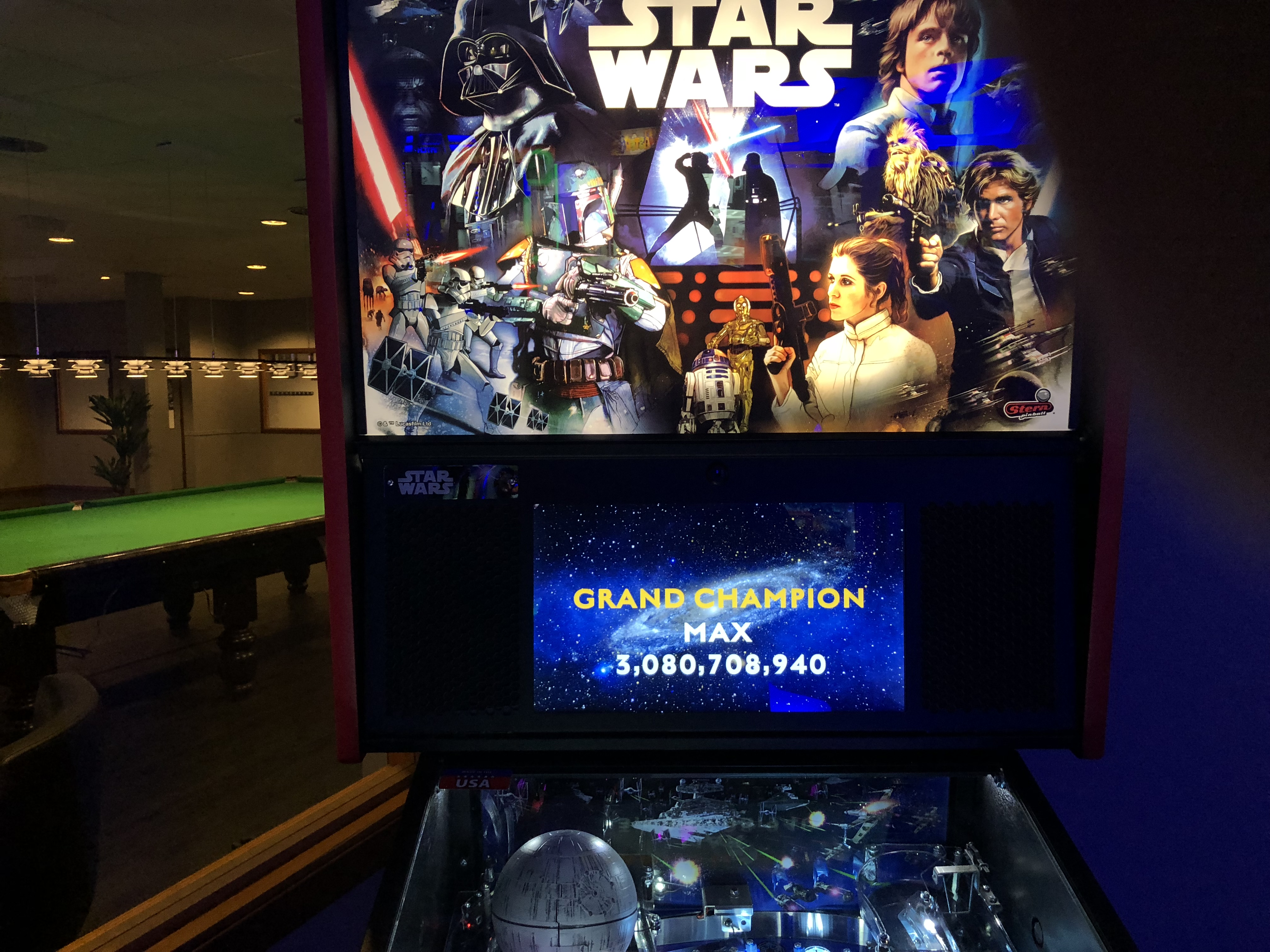 Maxwel: Star Wars [Stern] [Pro] (Pinball: 3 Balls) 3,080,708,940 points on 2017-12-13 16:38:18