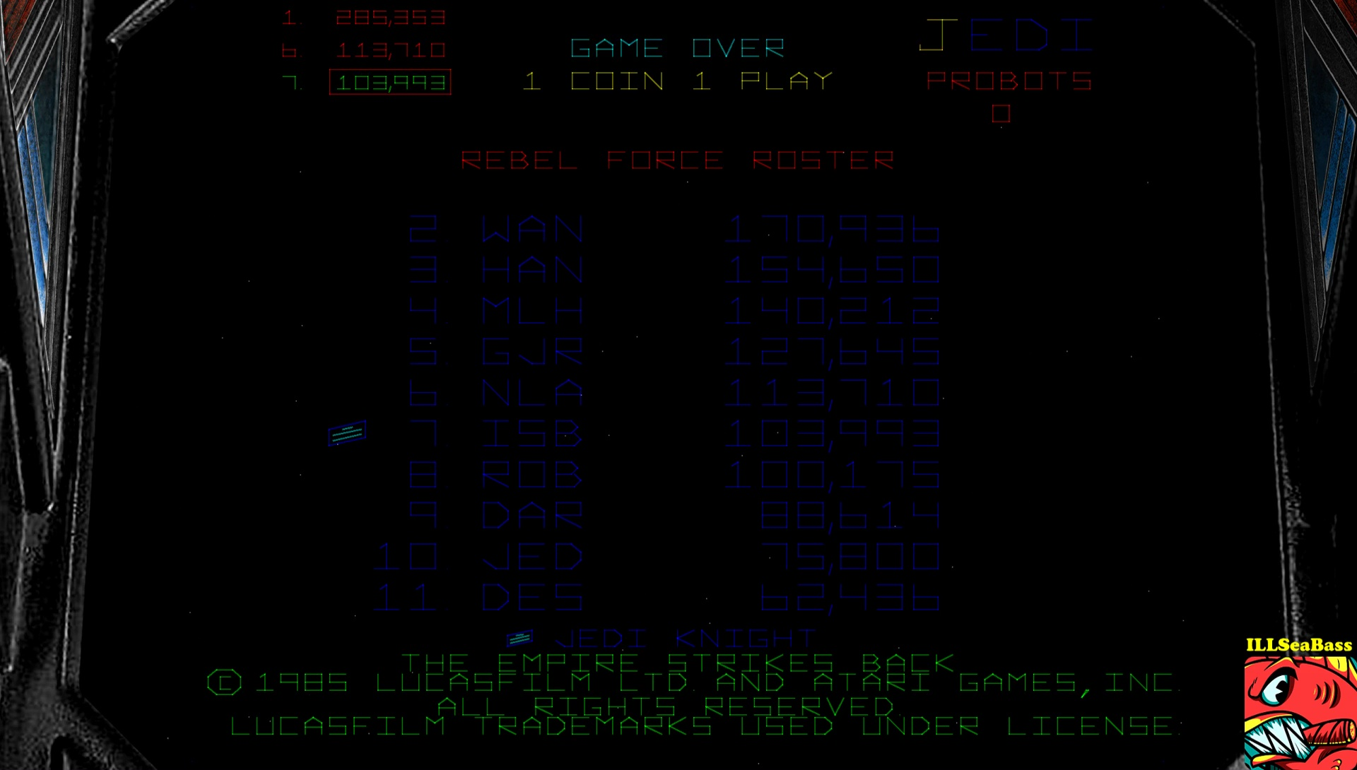 ILLSeaBass: Star Wars: The Empire Strikes Back (Arcade Emulated / M.A.M.E.) 103,933 points on 2017-03-12 21:50:11