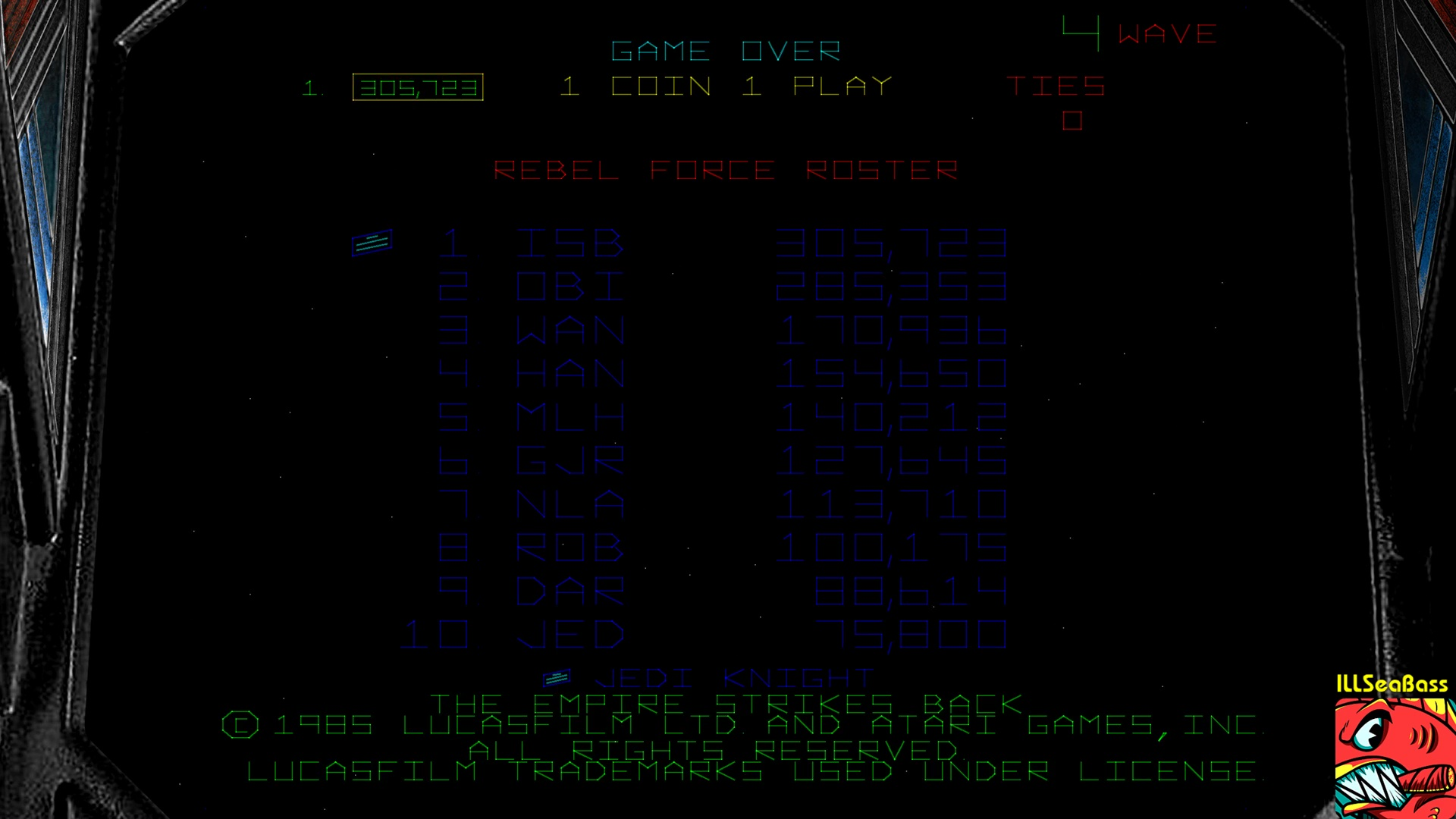 ILLSeaBass: Star Wars: The Empire Strikes Back (Arcade Emulated / M.A.M.E.) 305,723 points on 2017-11-06 23:44:42