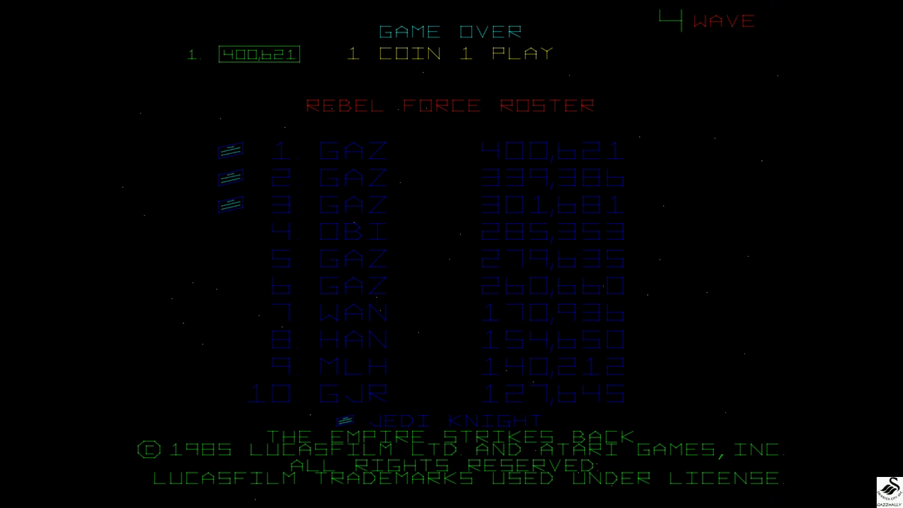 gazzhally: Star Wars: The Empire Strikes Back (Arcade Emulated / M.A.M.E.) 400,621 points on 2017-11-08 13:11:19