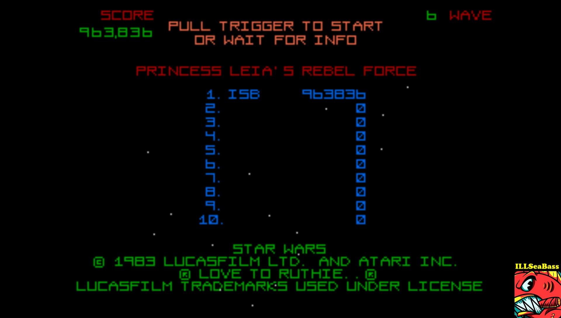 ILLSeaBass: Star Wars [Wave 5: Hard] (Atari ST Emulated) 963,836 points on 2017-02-27 23:53:40