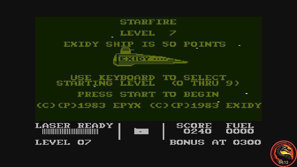 omargeddon: Starfire  [Level 7] (Atari 400/800/XL/XE Emulated) 240 points on 2020-08-21 14:18:00
