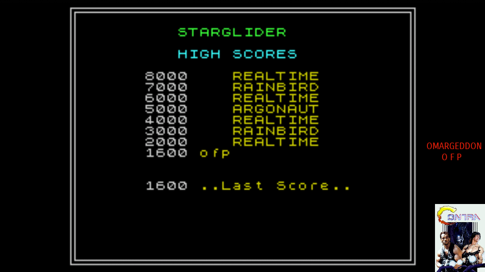 omargeddon: Starglider (ZX Spectrum Emulated) 1,600 points on 2017-08-06 11:56:30