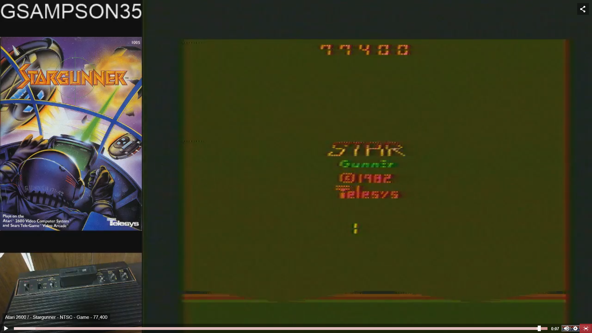 gsampson35: Stargunner (Atari 2600 Novice/B) 77,400 points on 2019-02-10 04:27:01