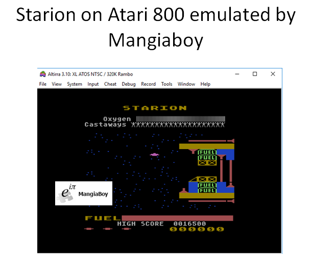MangiaBoy: Starion (Atari 400/800/XL/XE Emulated) 16,500 points on 2018-12-30 11:44:29