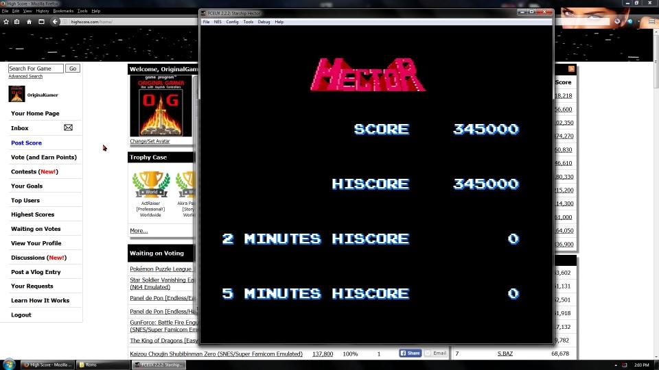 OriginalGamer: Starship Hector [Normal] (NES/Famicom Emulated) 345,000 points on 2016-07-10 01:26:27